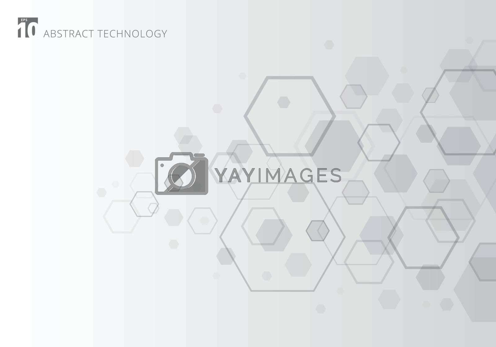 Abstract gray hexagon on white background. Geometric elements of design for modern communications, technology, digital, medicine, science concept. Vector illustration
