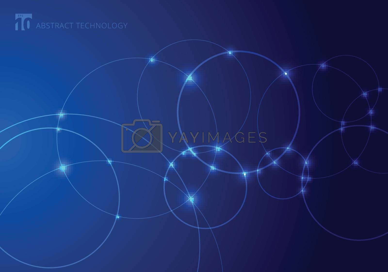Abstract circles and dots with overlapping on blue background technology style. Future concept. Node molecule structure. Science and connection. banner web with copy space for text. Vector illustration