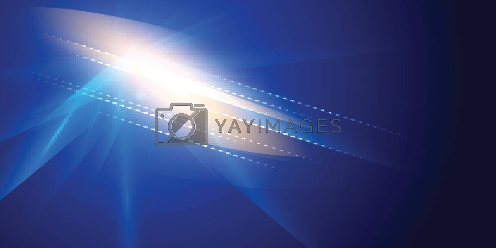 Abstract futuristic lighting effect on dark blue background. Colorful lens flare, star, explosion and electric power design. Vector illustration