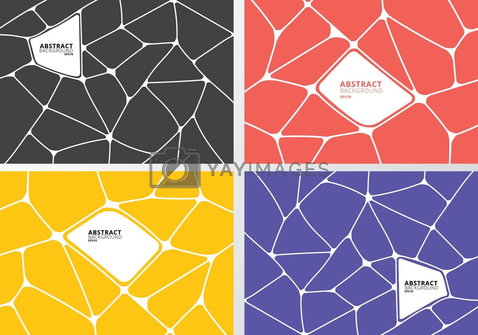 Set of abstract gray, orange, yellow, purple geometric voronoi background. Polygonal Mosaic collection. Vector illustration