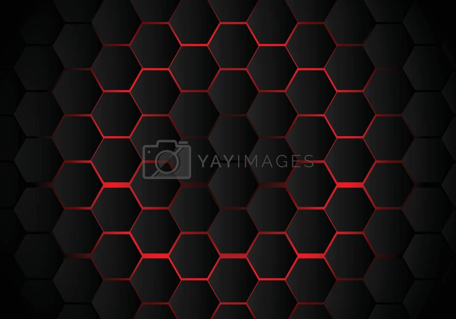 Abstract black hexagon pattern on red neon background technology style. Honeycomb. Vector illustration
