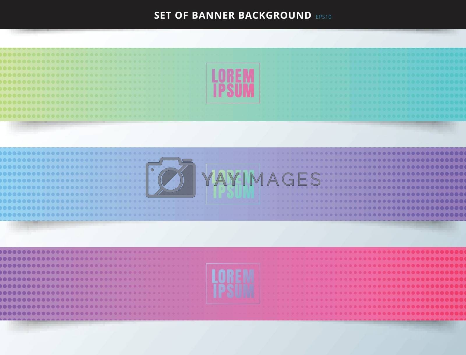 Set of banner web vibrant color background with halftone texture. You can use for label, tab, brochure, card, poster, leaflet, flyer, etc. Vector illustration