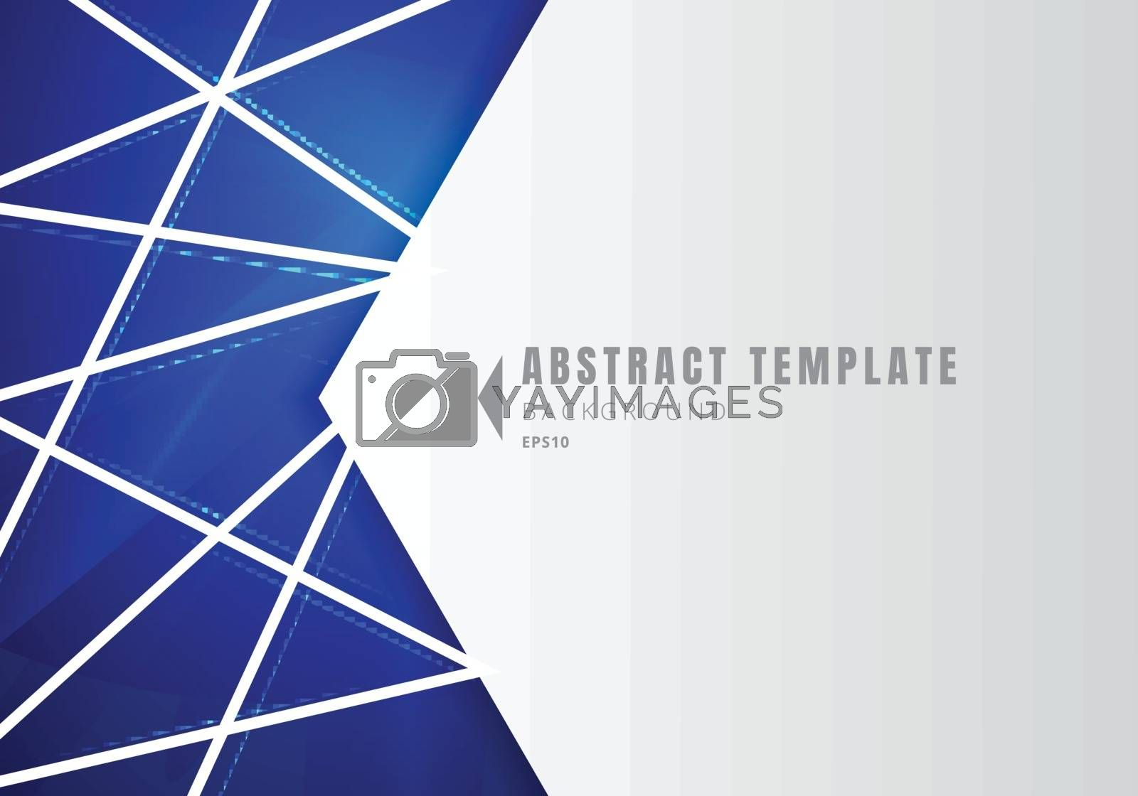 Template abstract white geometric shape polygons with lines composition on blue neon lighting background. Vector illustration
