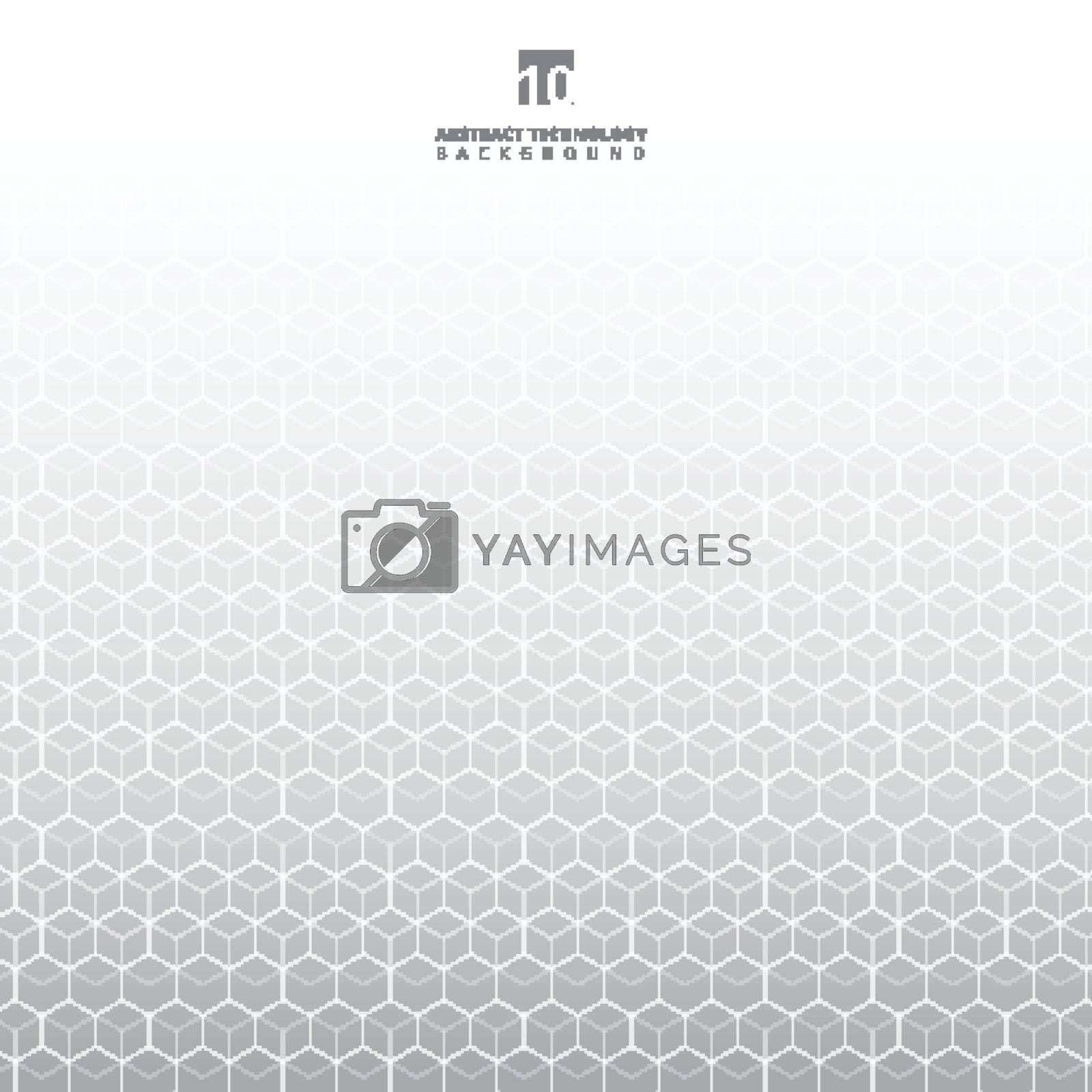 Abstract white geometric hexagons pattern molecule on gray background with copy space. Elements for design template modern science and digital technology, medicine, communications. Vector illustration