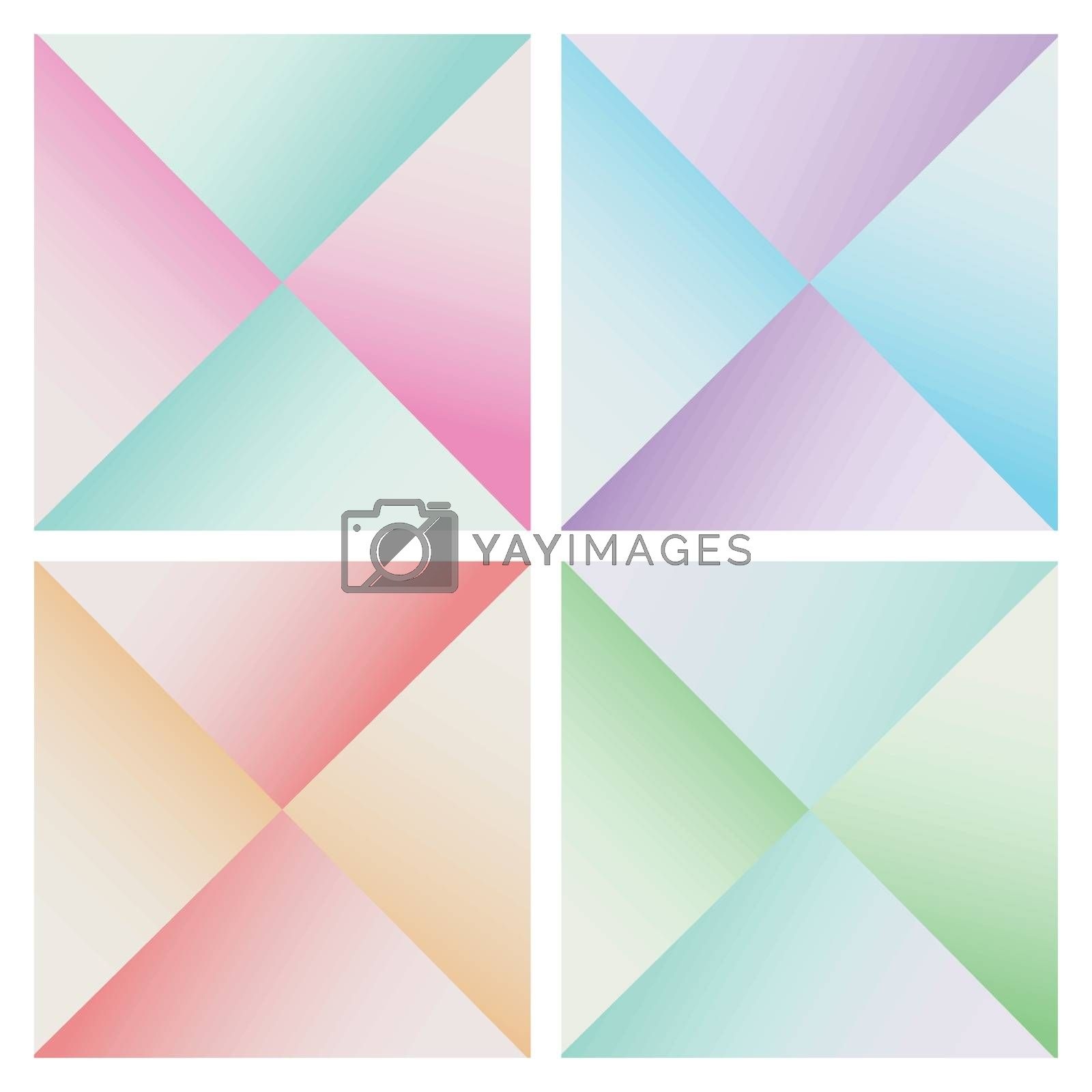 Set of abstract pyramid colorful background. Geometric triangles shape modern style. Vector illustration