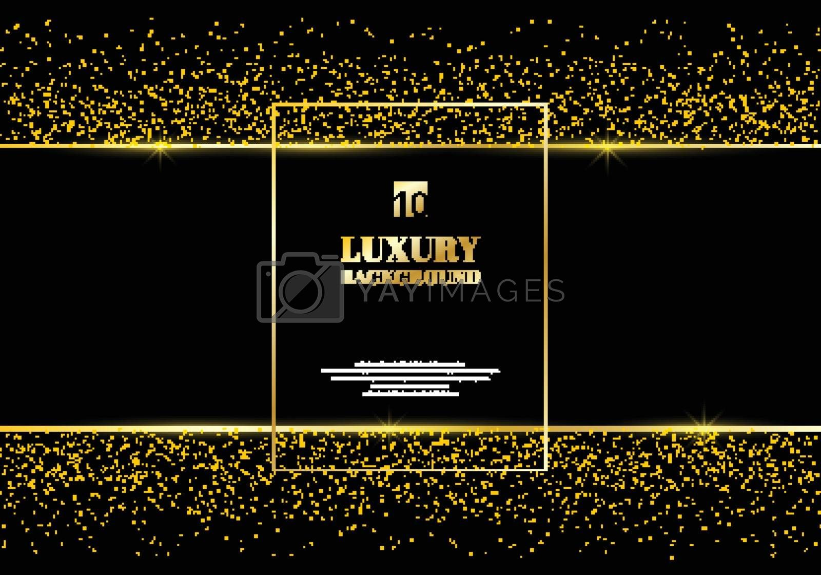 Abstract golden glitter and shiny gold frame on black background. Luxury elegant trendy style. You can use for wedding Invitation cards, packaging, banner, card, flyer, invitation, party, print advertising. etc. Vector illustration