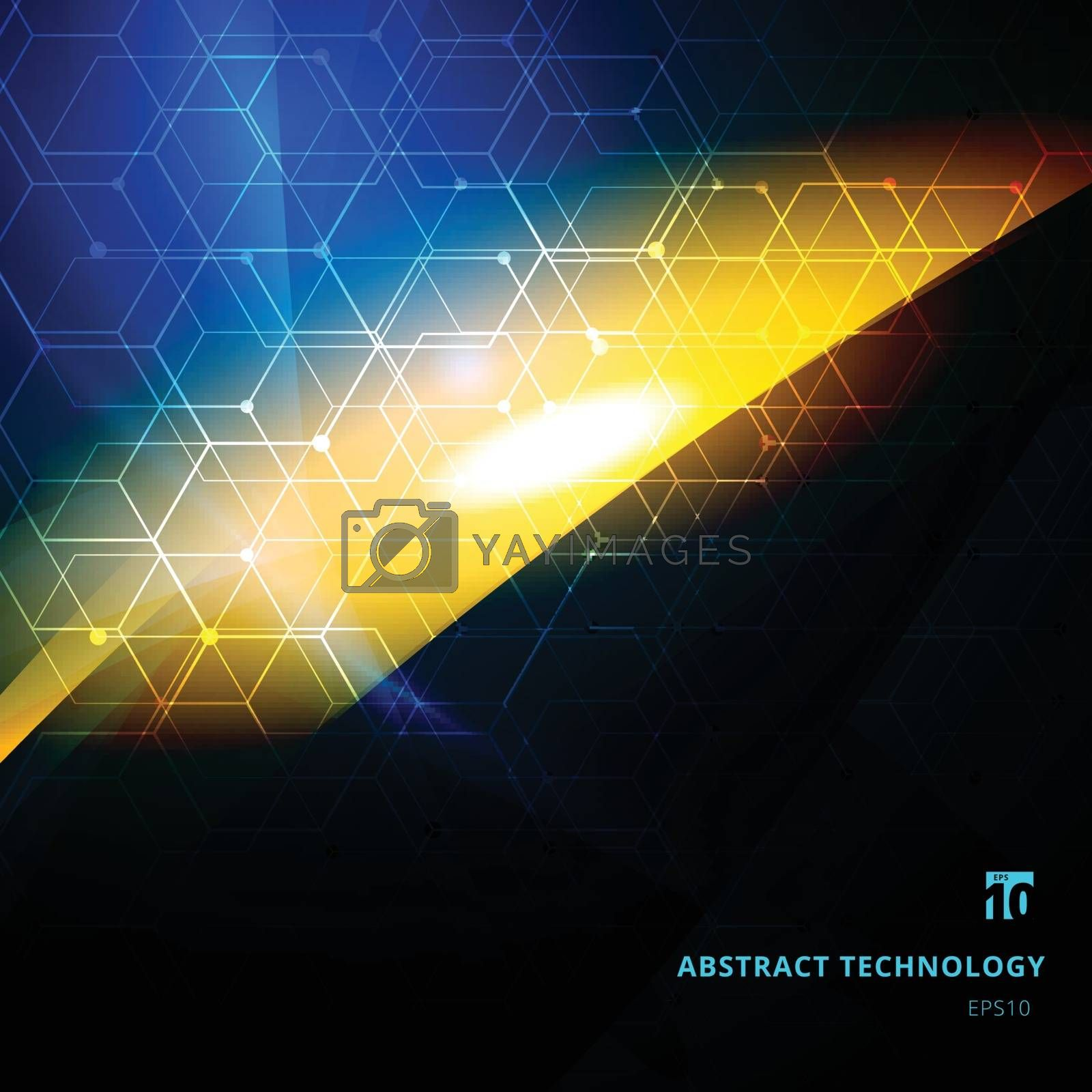 Abstract explosion of light with hexagonal patterns on dark background copy space. Technology digital futuristic style. Vector illustration