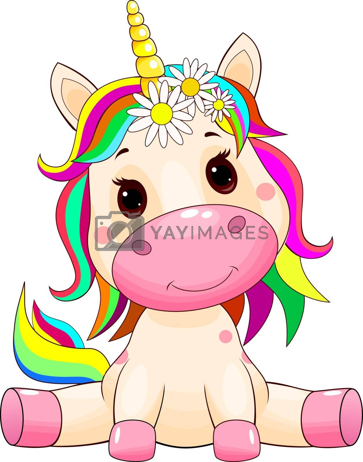 Little unicorn with a multi-colored mane and tail on white.
