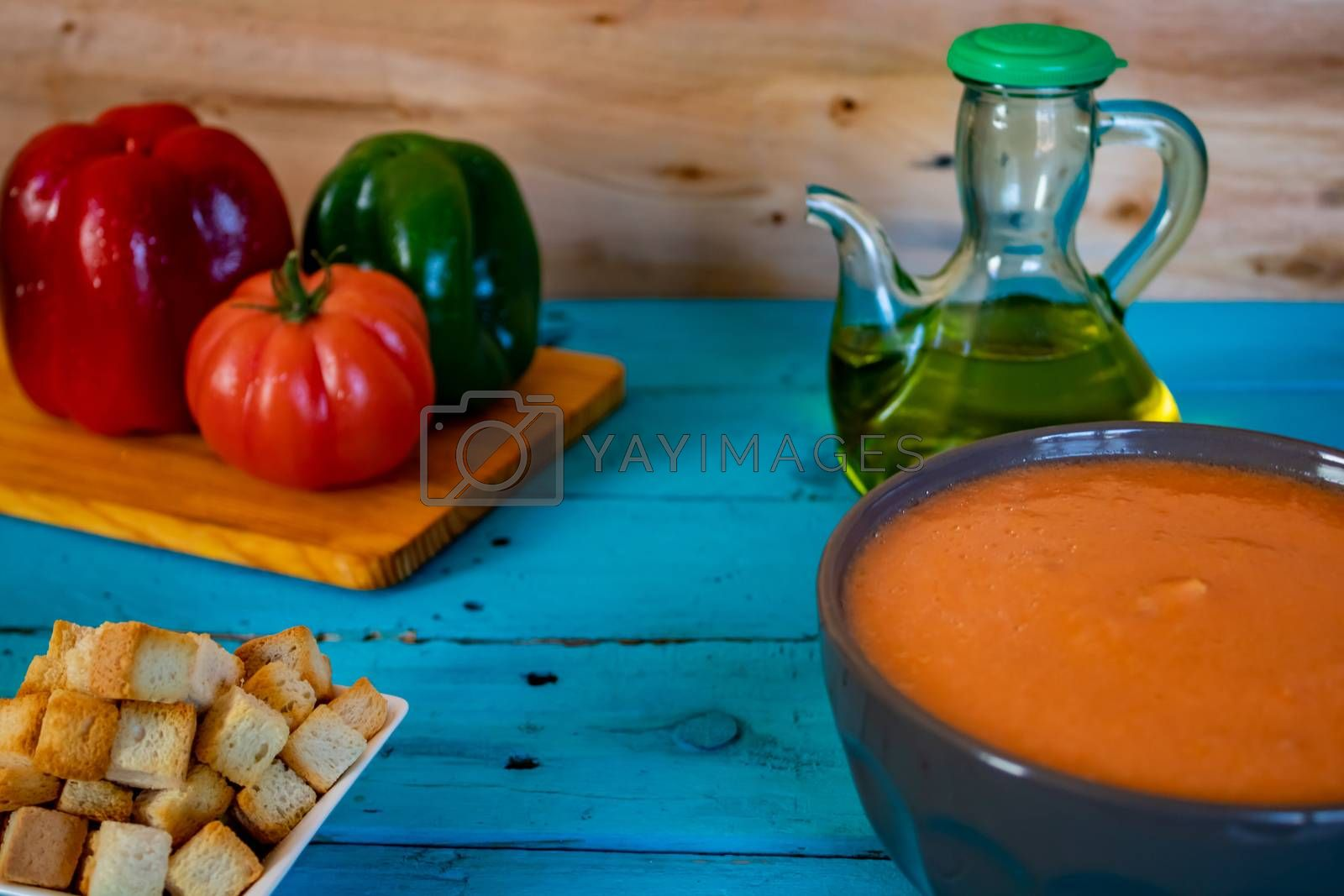 View of gazpacho, a typical Spanish meal with its ingredients in composition