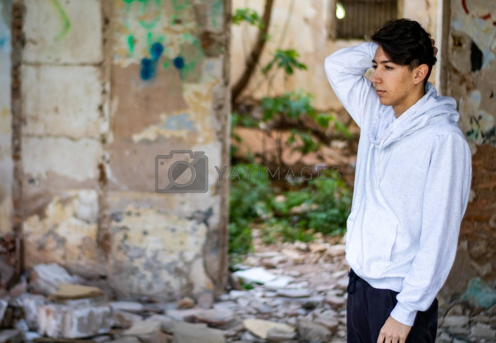 Young boy in an abandoned house by Barriolo82