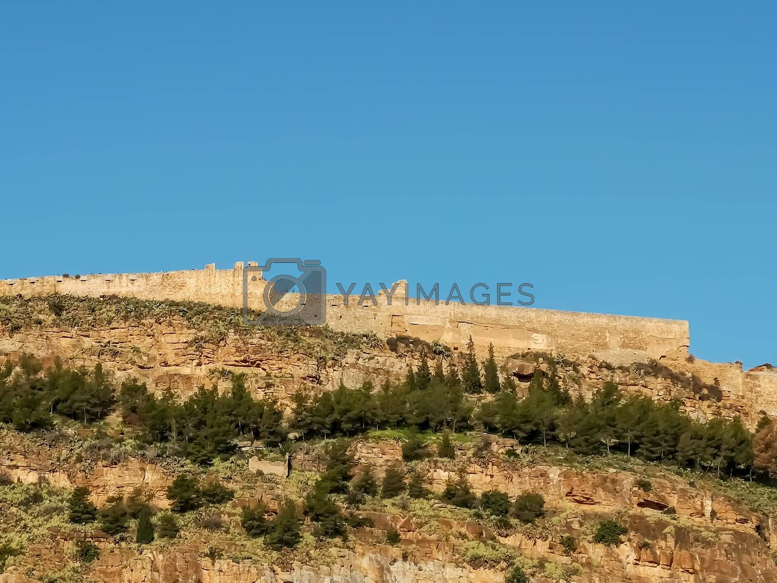 View of the castle of Sagunto with blue sky
