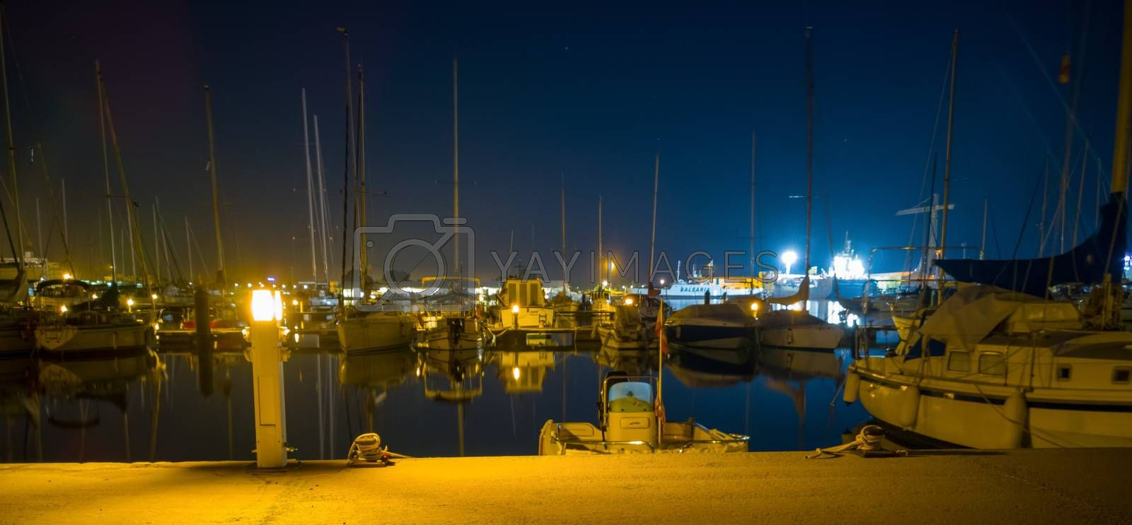 Burriana marina with boats reflected in the sea by Barriolo82