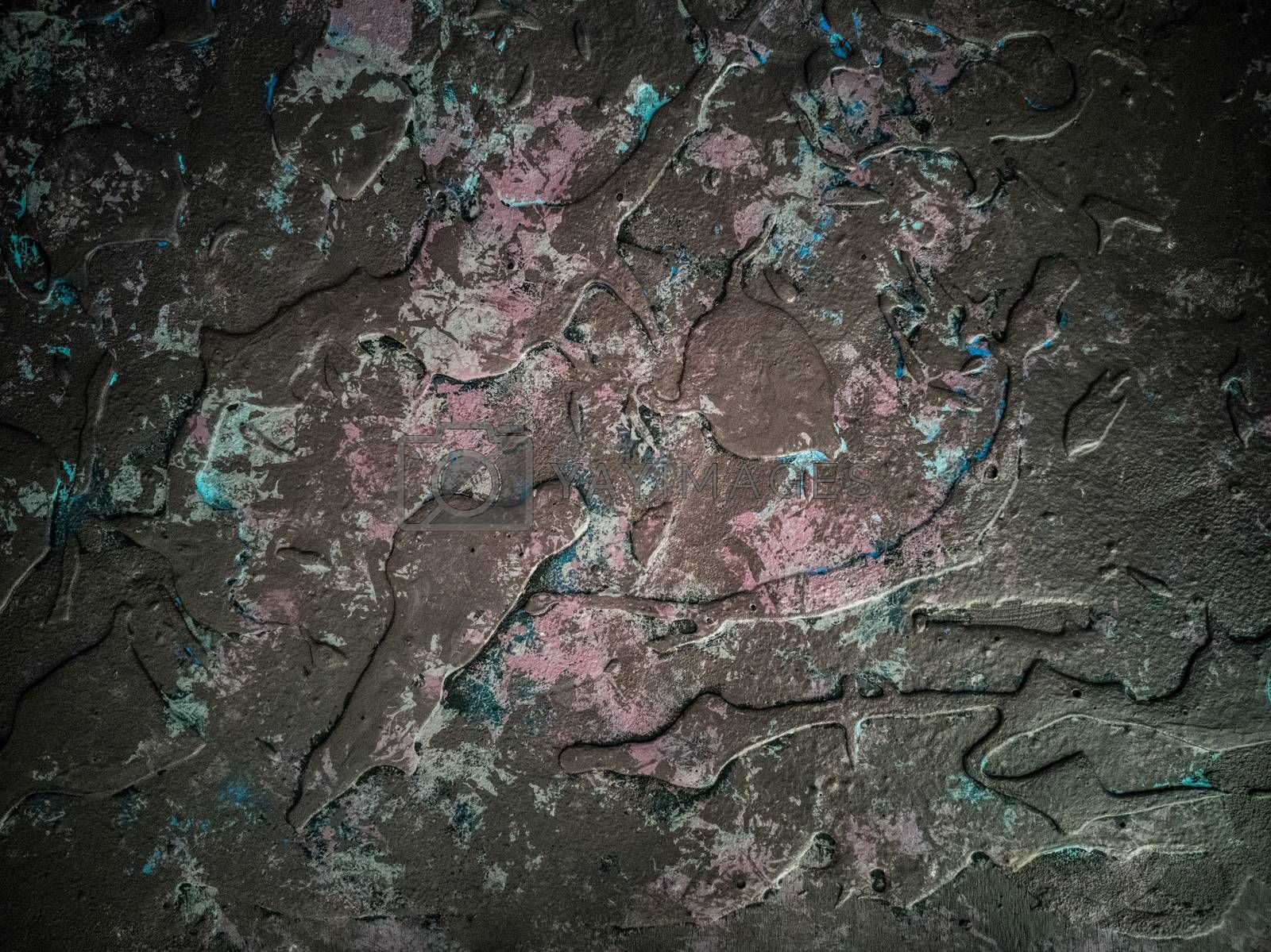 Background in dark tones with relief and rough texture