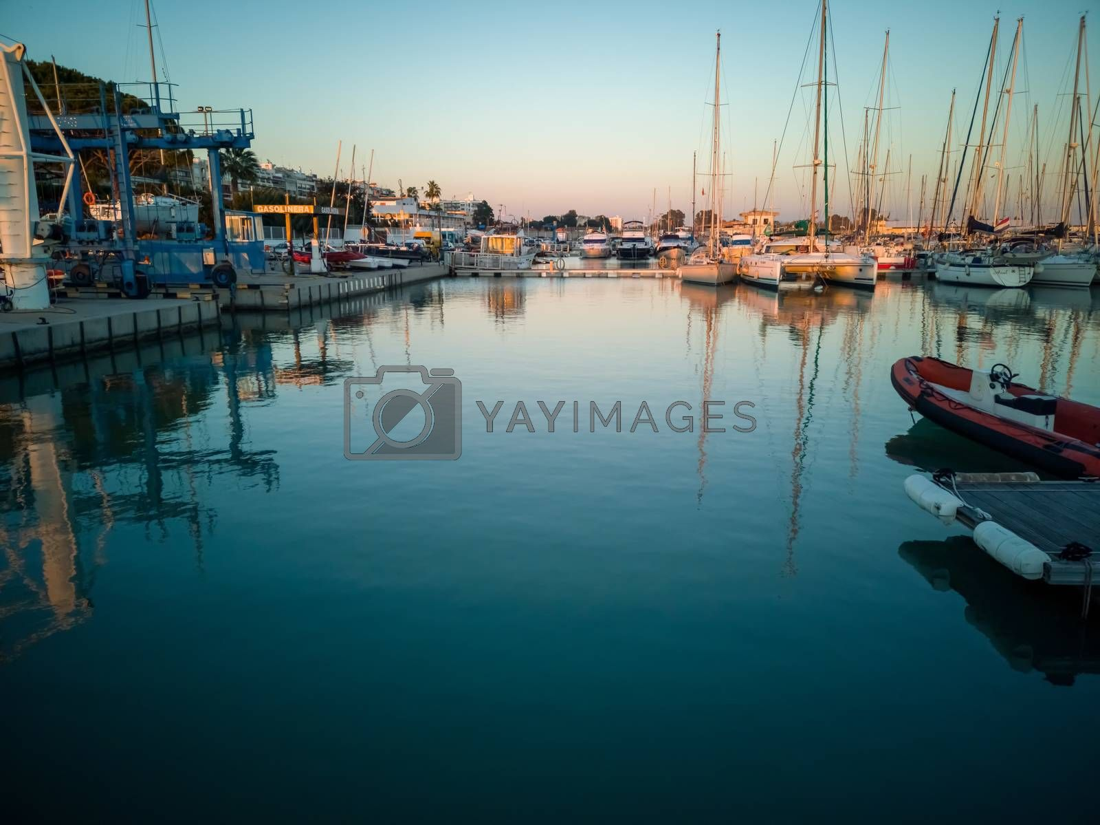 Burriana marina with boats in the sea in long exposure