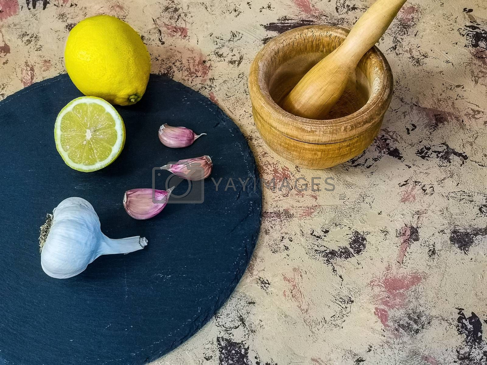Ingredients and utensils to make mayonnaise with garlic in composition by Barriolo82
