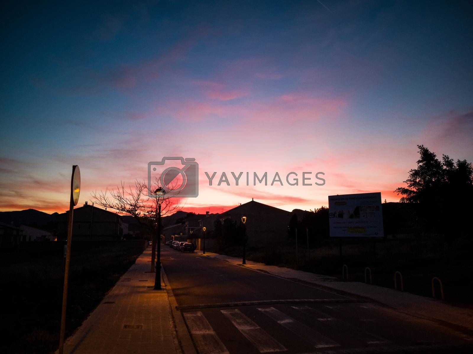 Sunset in pastel pink tones in the village of Algimia