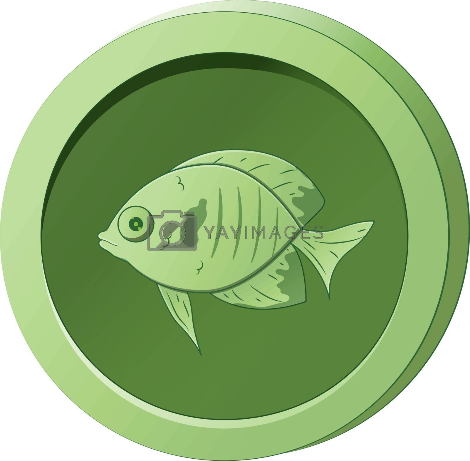 Green coin with the image of a fish. Vector illustration for game design by Lenkapenka