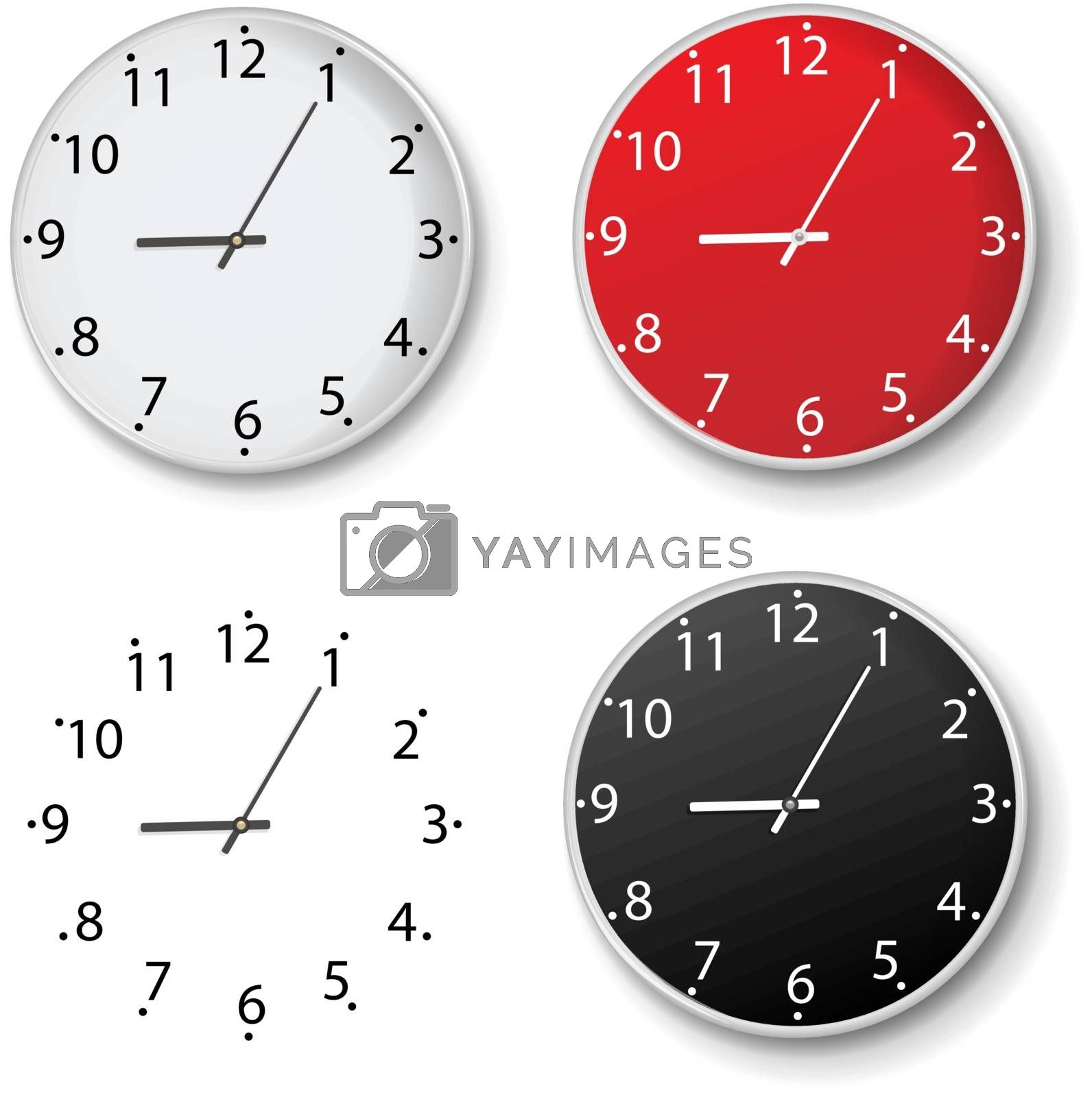 Clock Set Isolated Isolated White Background by adamson