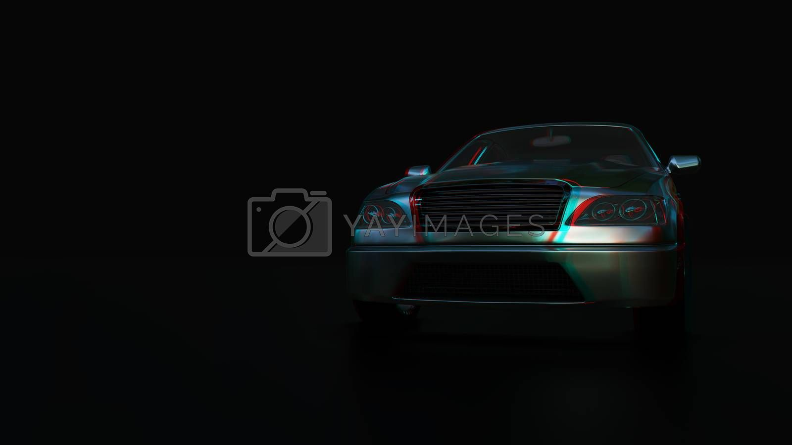 Modern sedan car on the dark background by cherezoff