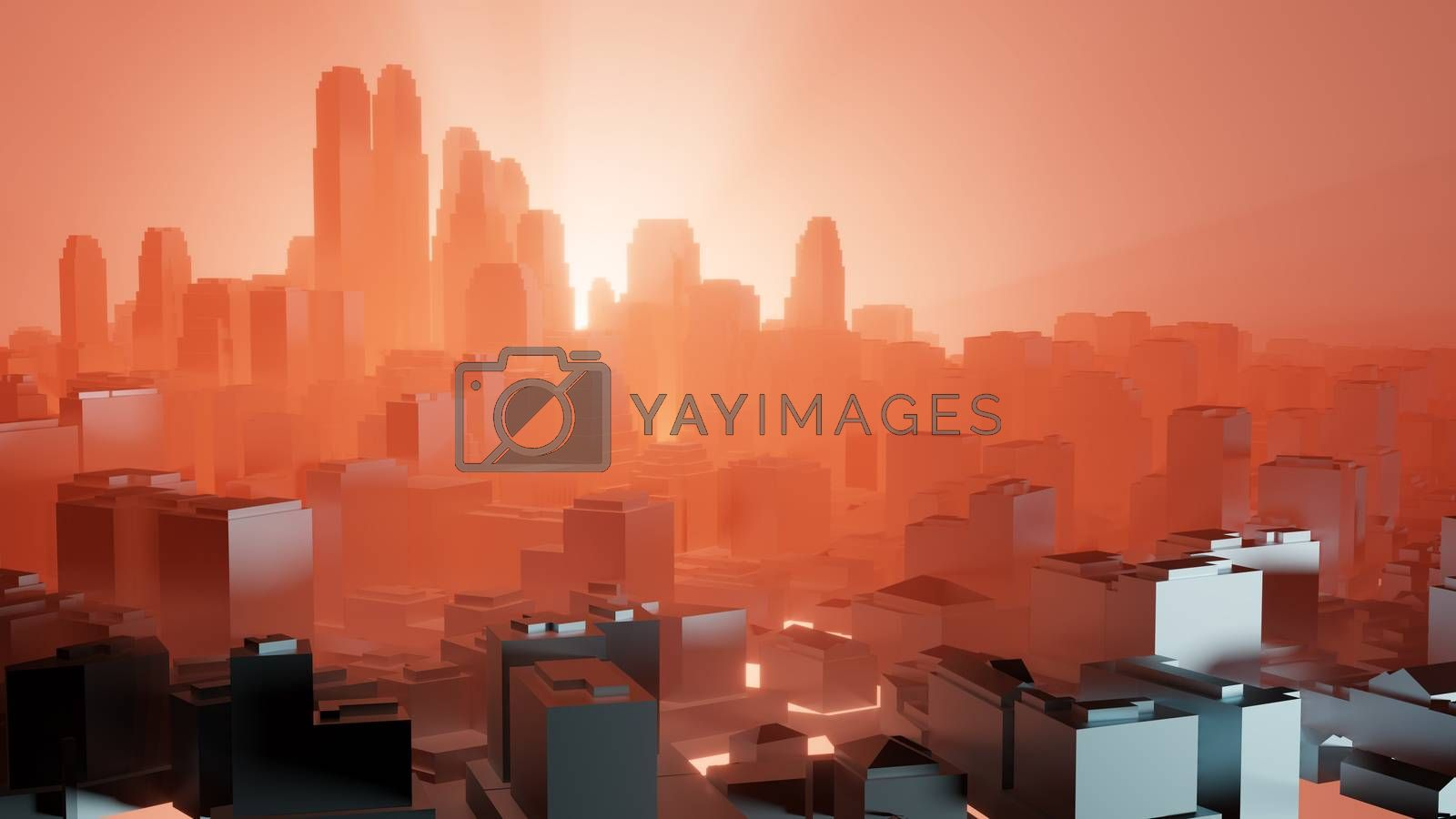 City in red fog. Air pollution or military action by cherezoff