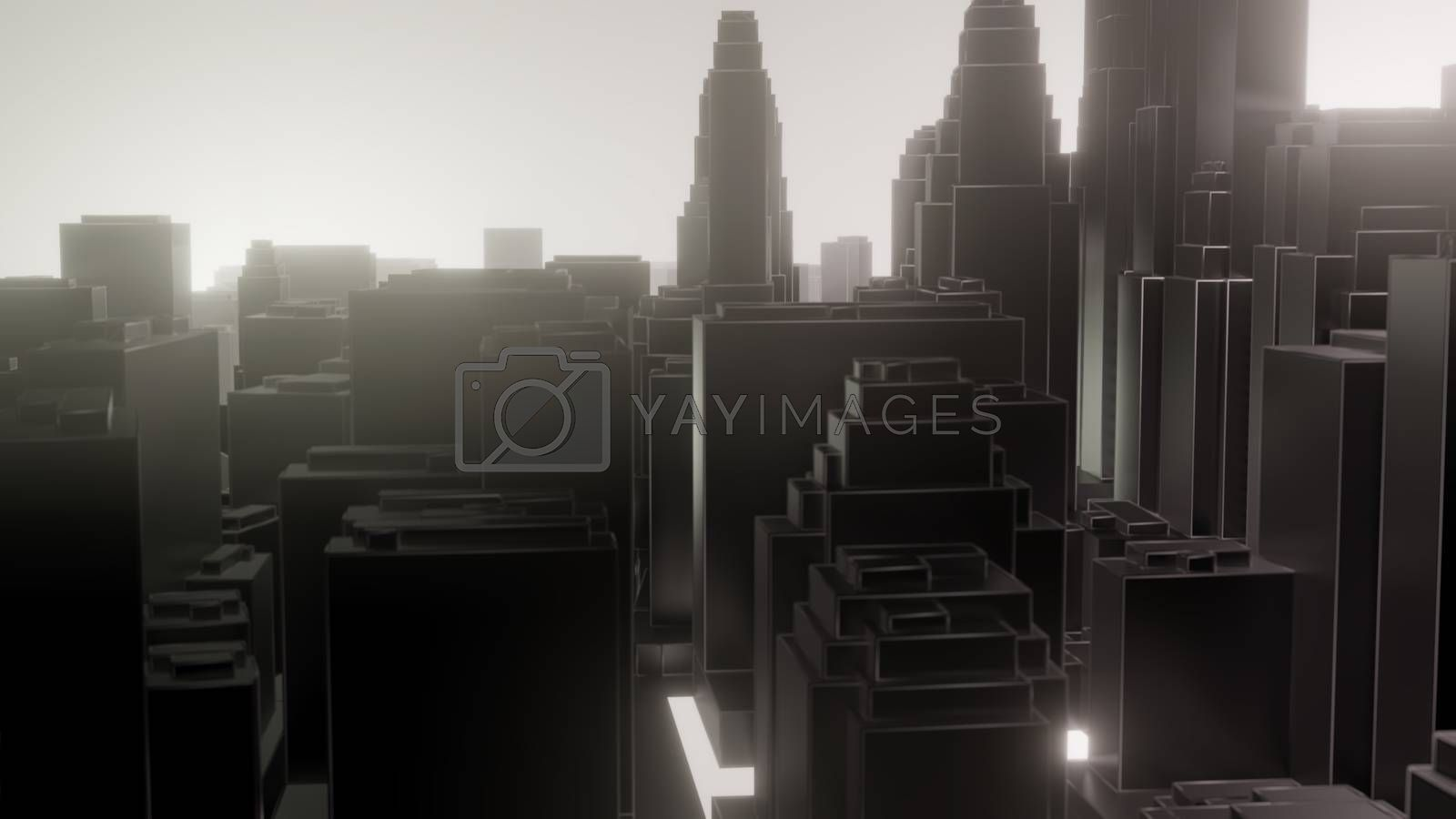 City in fog. Air pollution by cherezoff