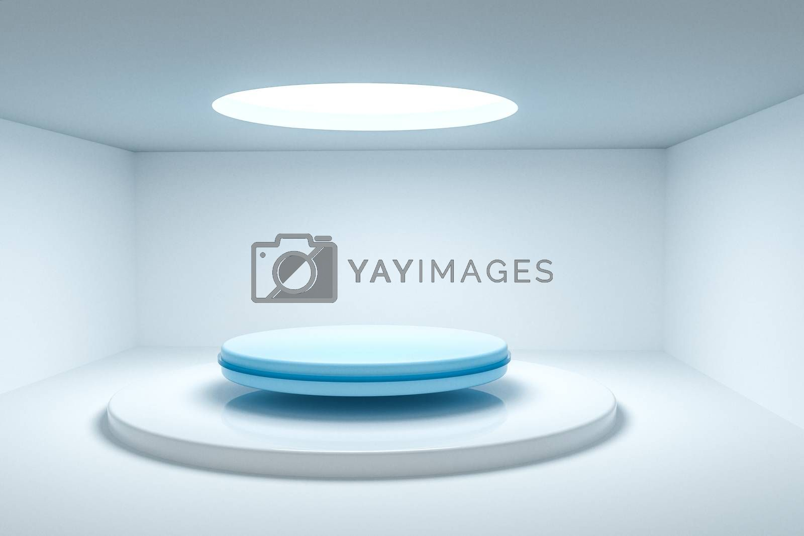 3d rendering, the round platform in the empty room. by vinkfan