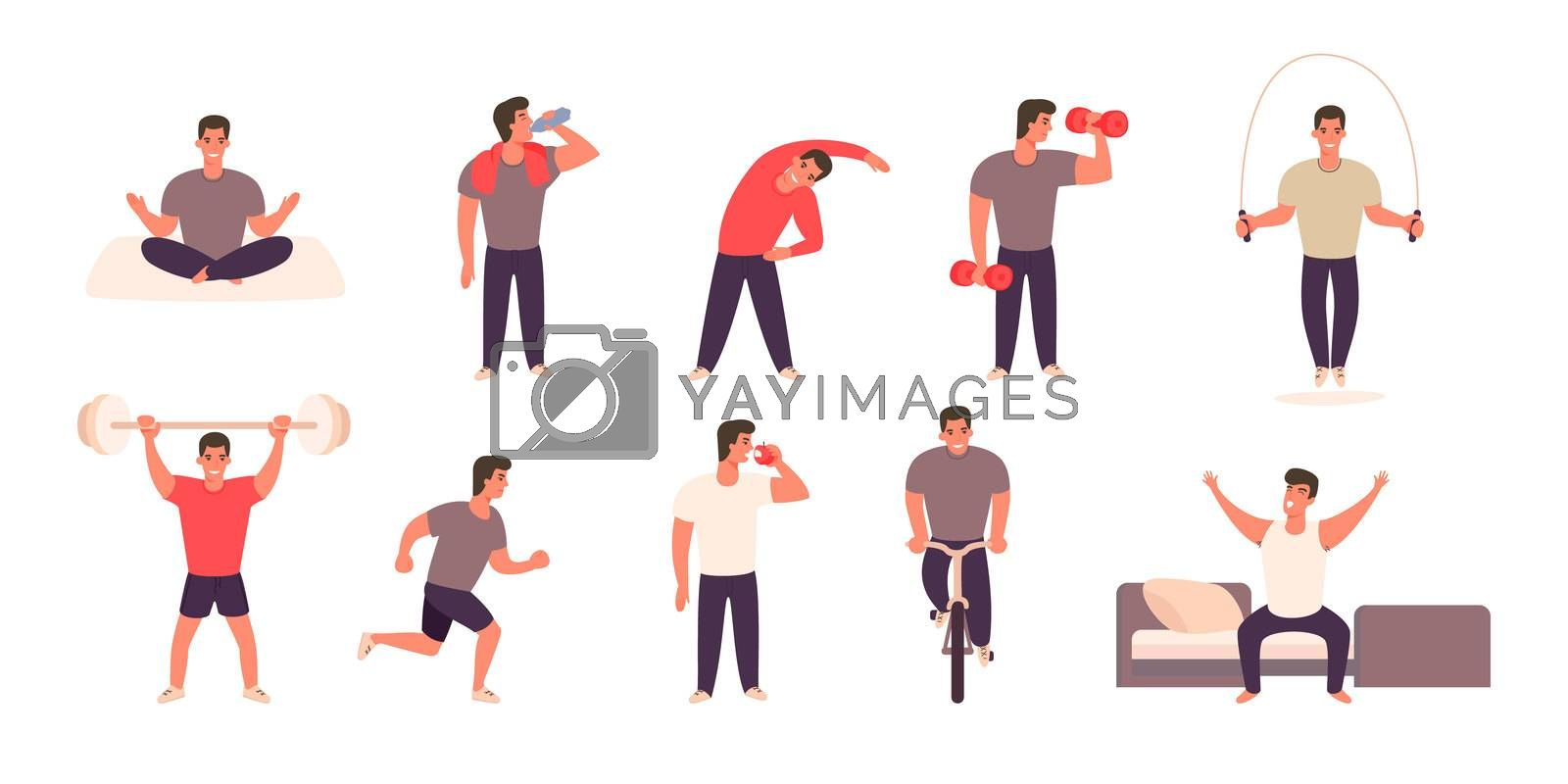 Man practicing different sports and physical activities. Guy sports activity set. Healthy lifestyle concept. Man in various situations.