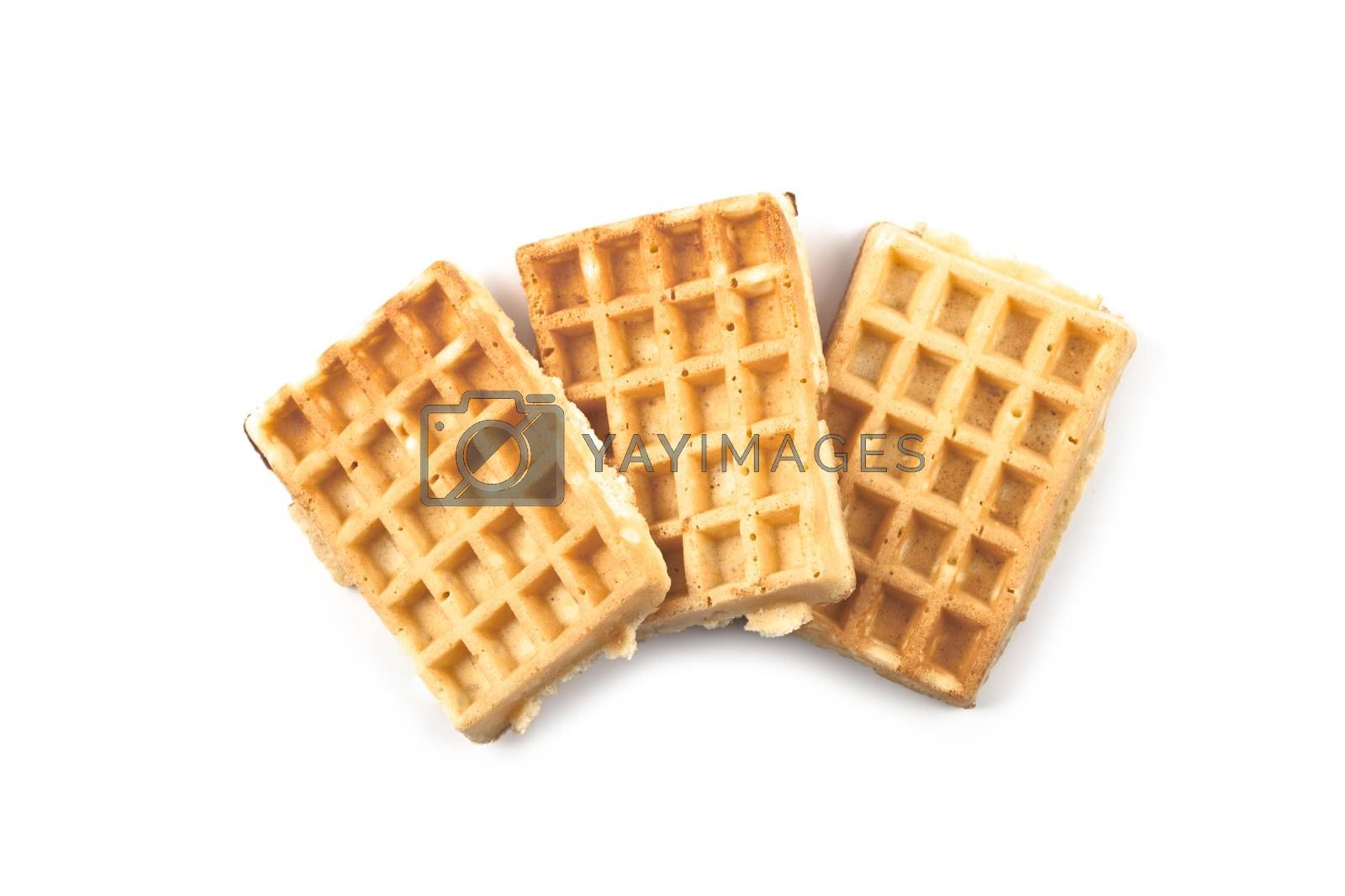 Belgium waffers isolated on white background. Top view of three fresh baked wafers.