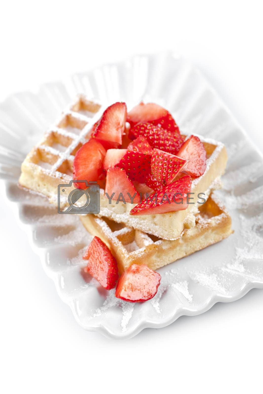 Belgium waffers with sugar powder and strawberries on ceramic plate on white table. Fresh baked wafers.