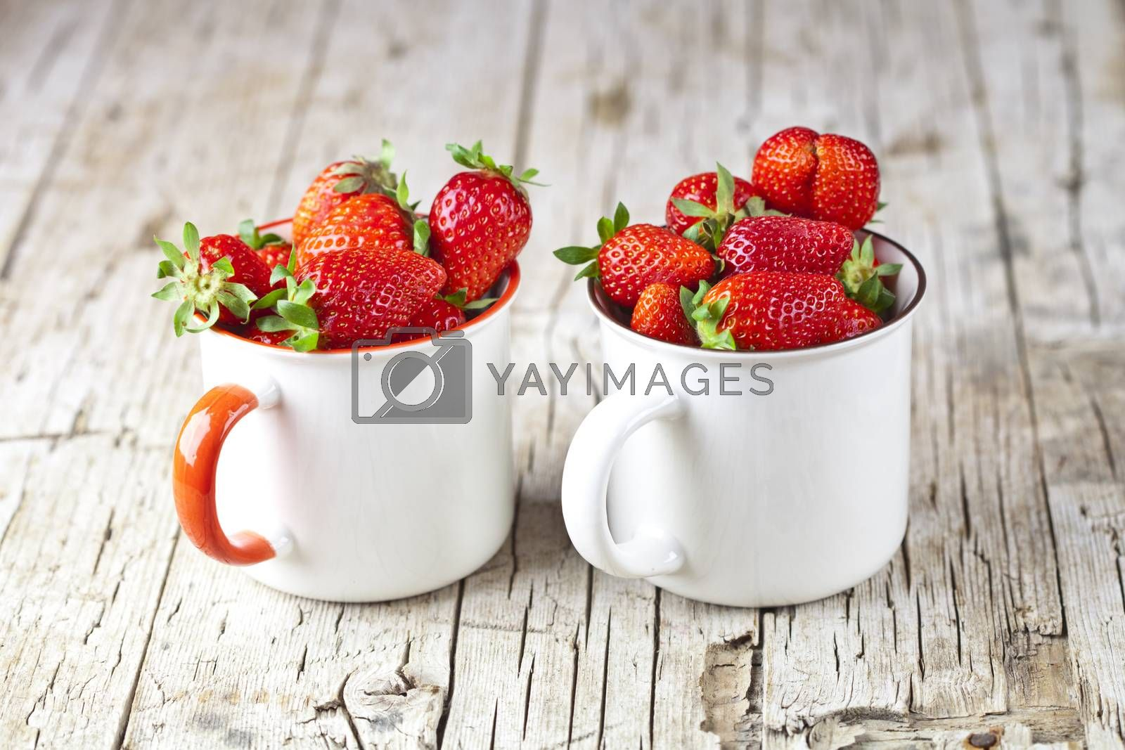 Organic red strawberries in white ceramic cups on rustic wooden  by marylooo