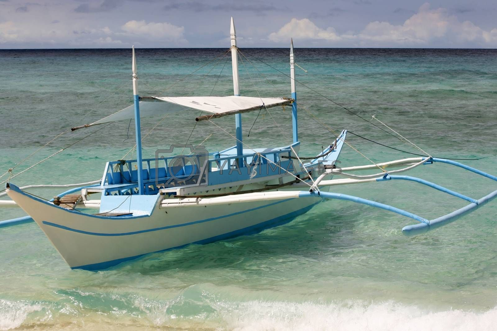 Small boat moored at seaside. Boracay. Philippines