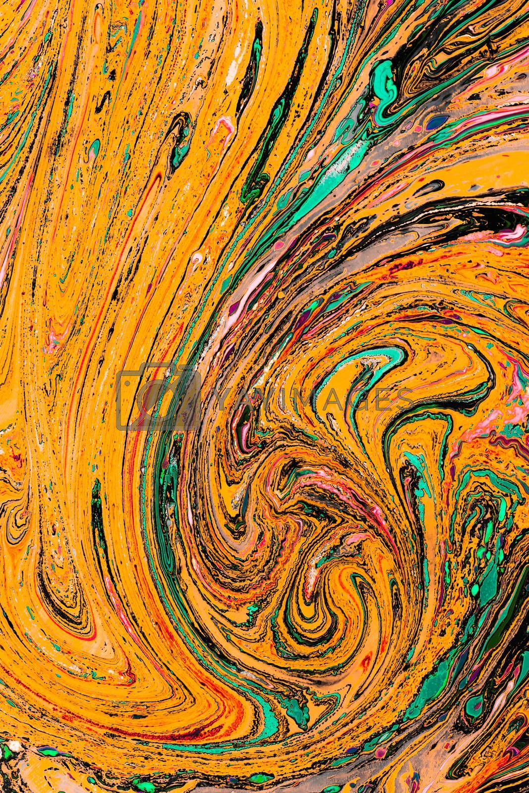 Traditional Ottoman Turkish abstract marbling art patterns as background