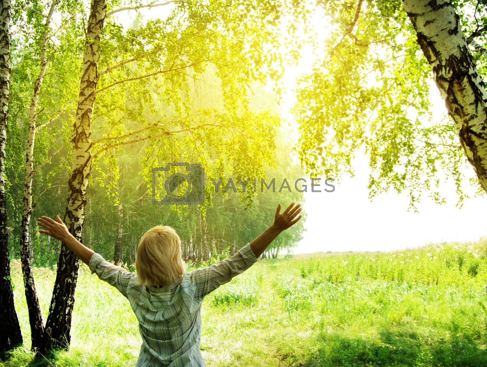 Summer, family, woman in the open in the forest near the trees raised her hands towards the sunlight, enjoying the summer heat and sun, concept of ecology and nature protection.