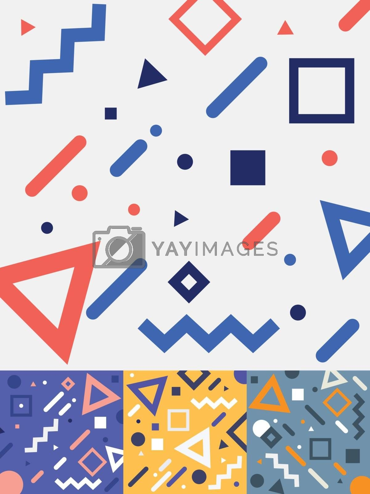 Set of geometric trendy fashion memphis style cards design in colorful tone background. Collection of templates fashion 80-90s. You can use for cover design, ad, posters, books, greeting cards. Vector illustration