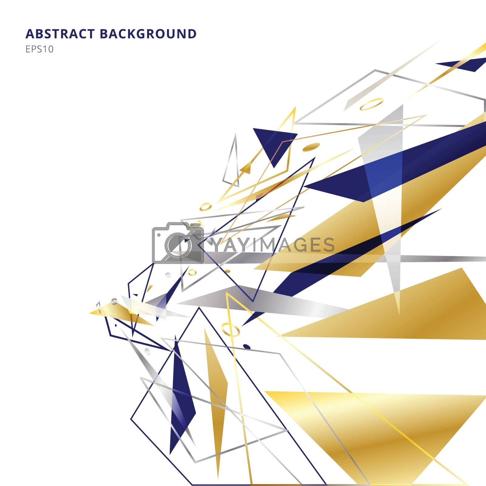 Abstract polygonal geometric triangles shapes and lines gold, si by phochi