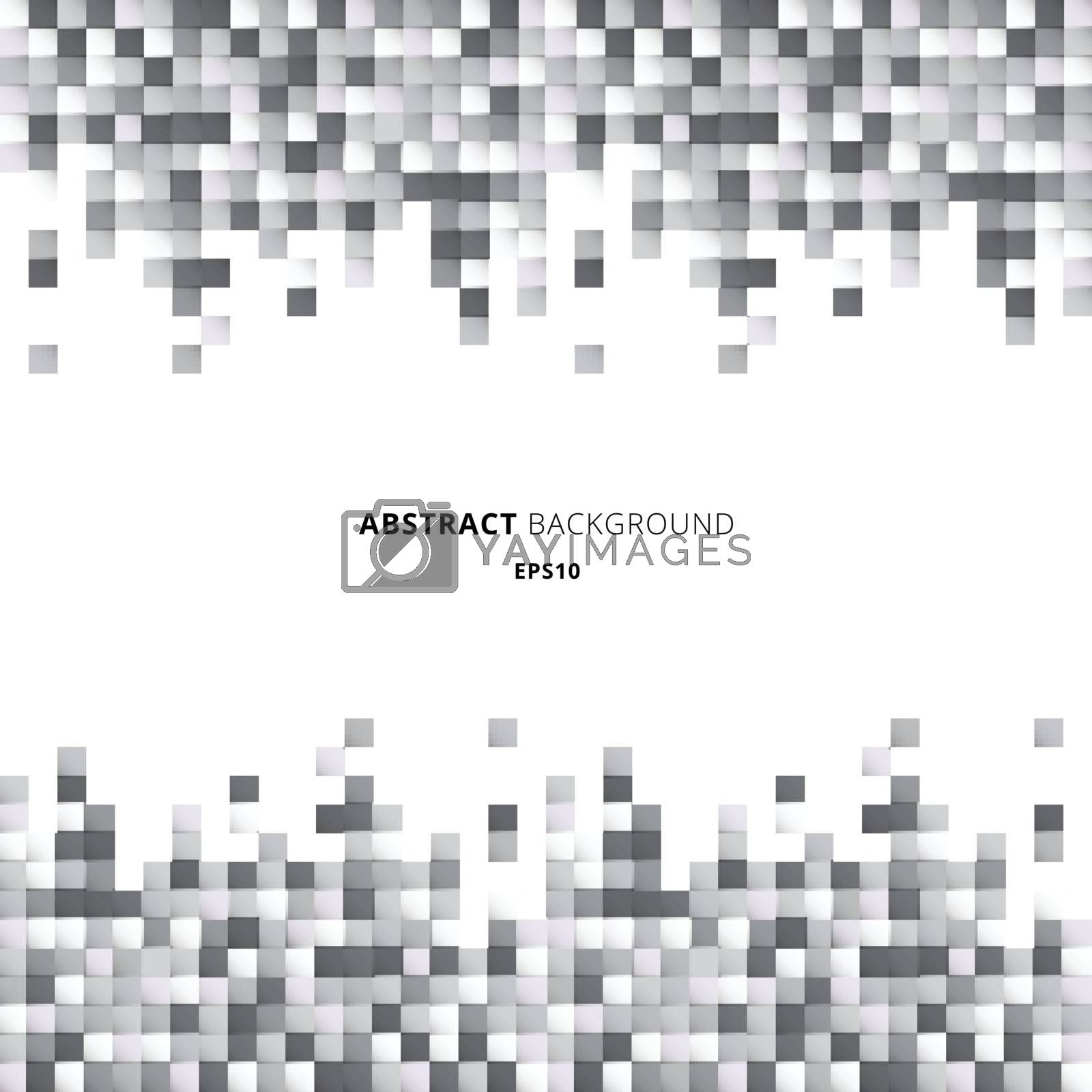 Abstract header and footers geometric white and gray squares pattern pixel background with copy space. You can use for design for print, ad, poster, flyer, cover, brochure, template. Vector illustration