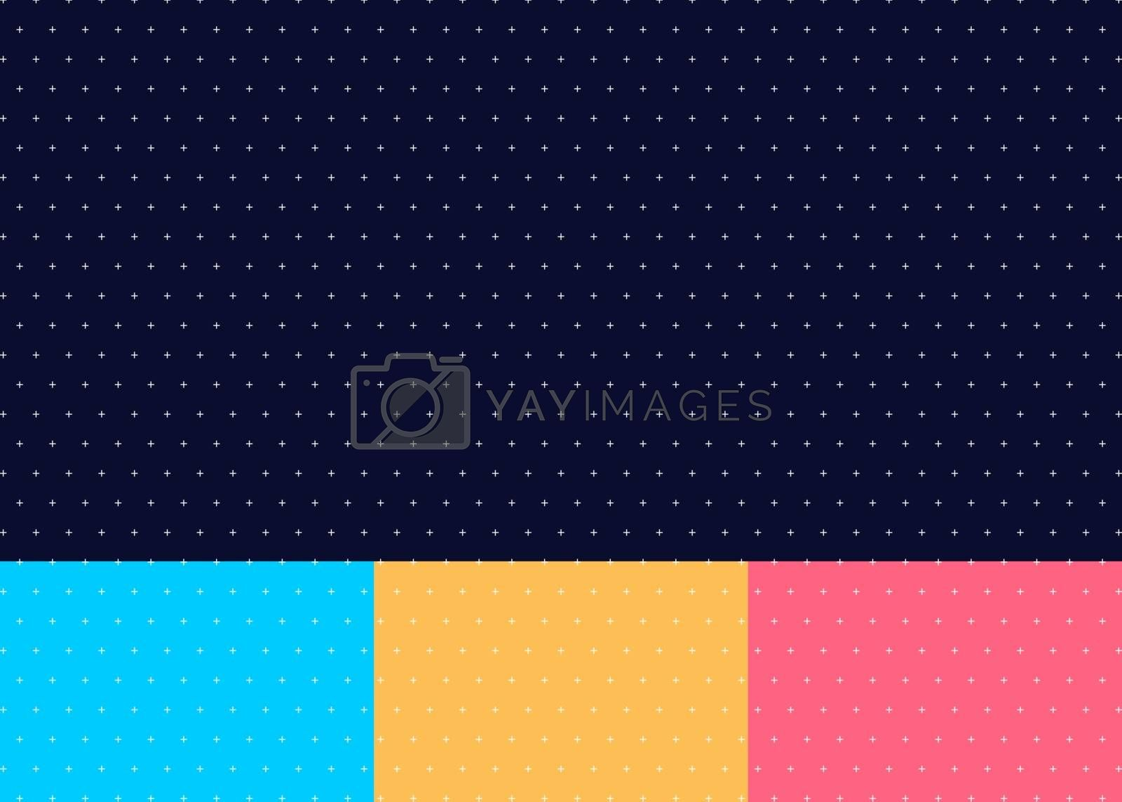 Set of abstract cross or plus pattern seamless blue, yellow, pink color background minimal style. Vector illustration