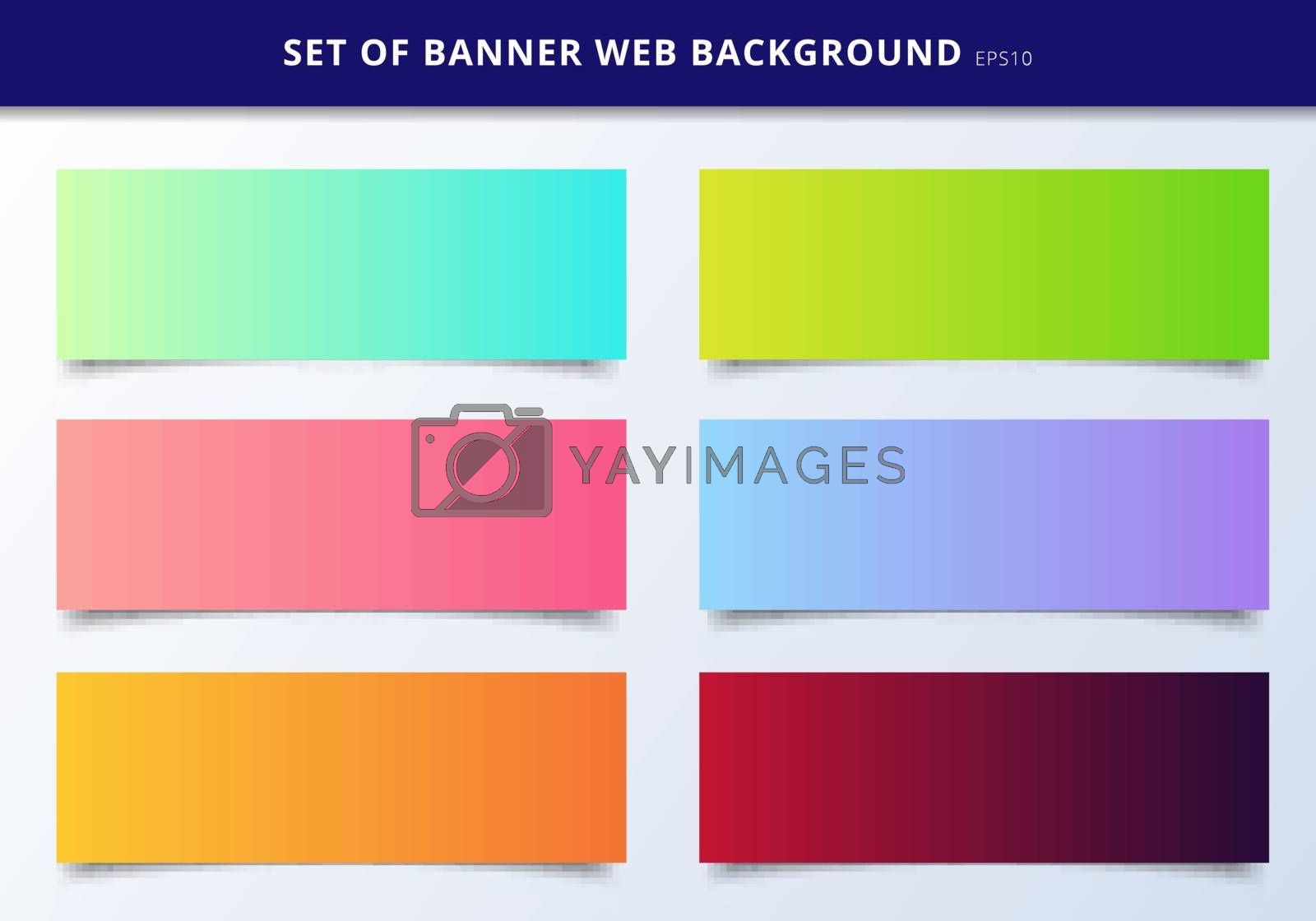 Set of banner web template header design vibrant gradient backgr by phochi