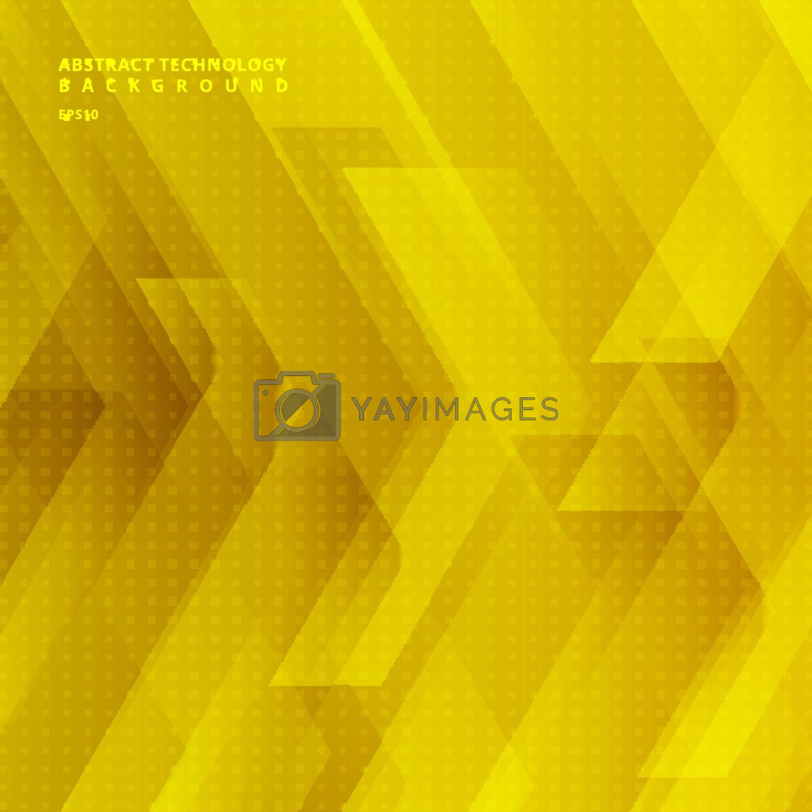 Abstract yellow tech diagonal geometric background with big arrows sign digital and stripes technology concept. Space for your text. Vector illustration