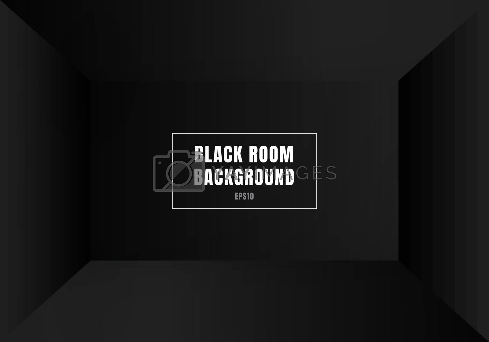 3D empty black room modern blank interior background. House, stu by phochi