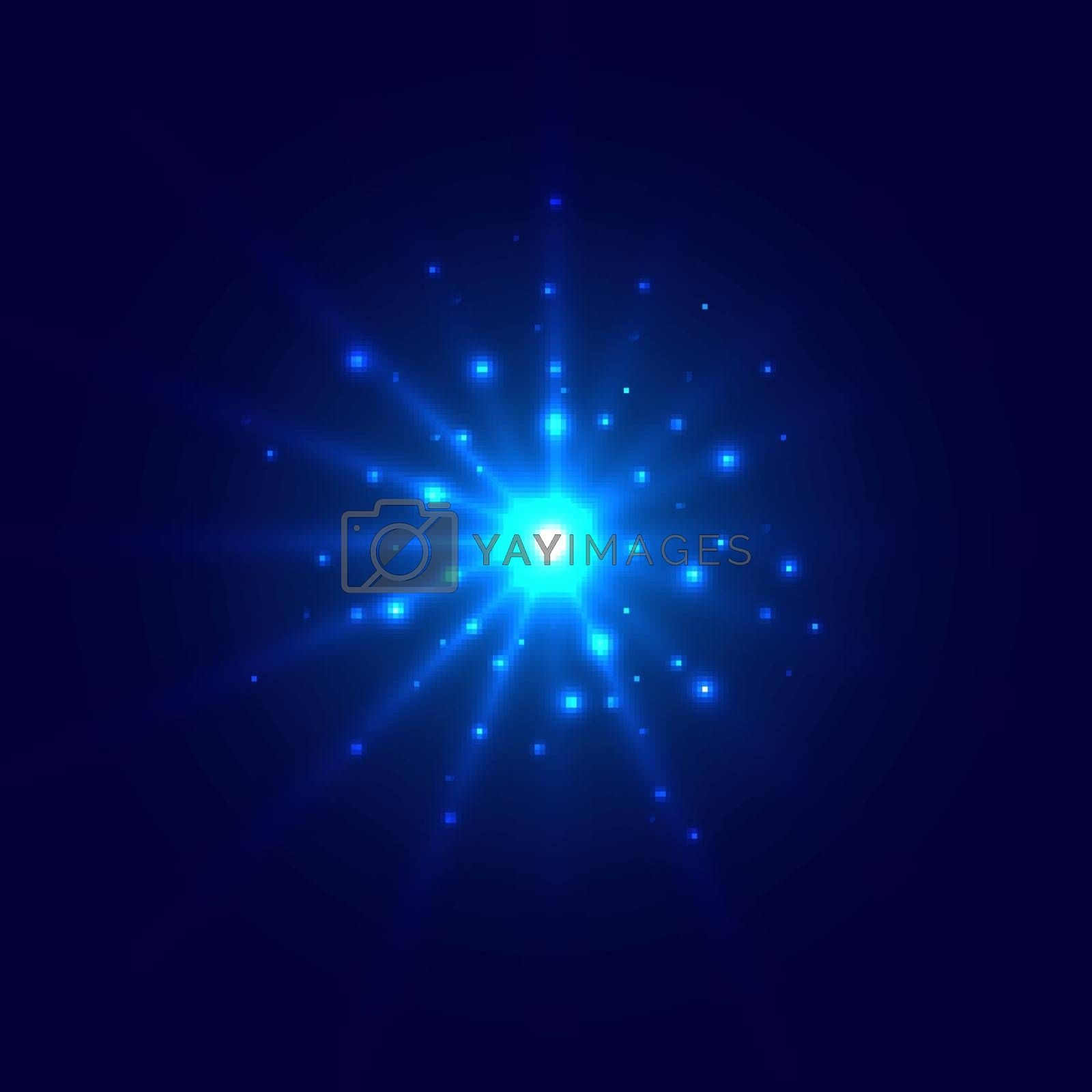 Abstract blue glow light burst explosion with magic bright sparkle center and glitters around on dark background. Vector illustration