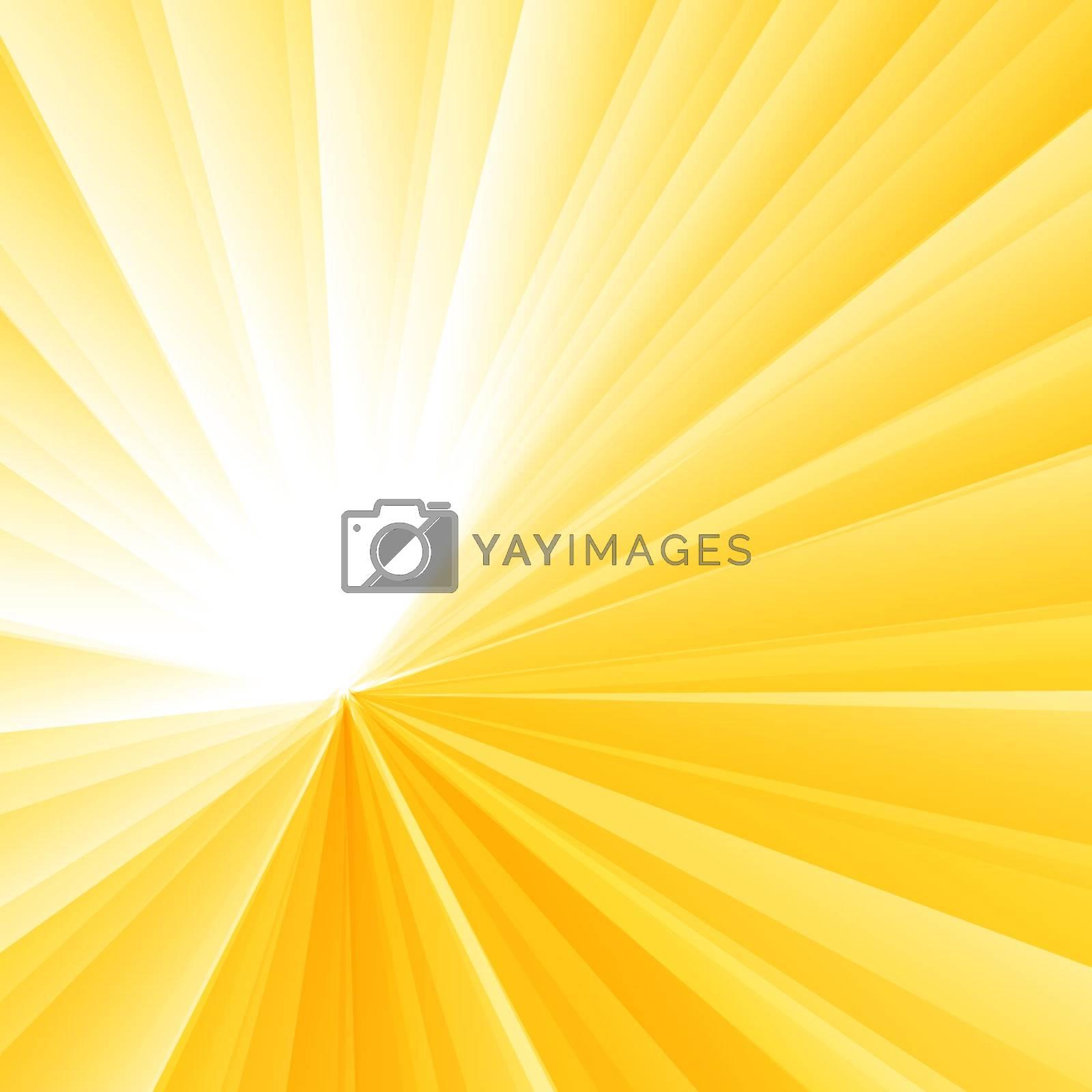 Abstract light burst yellow radial gradient background. Sunburst rays pattern. Vector illustration