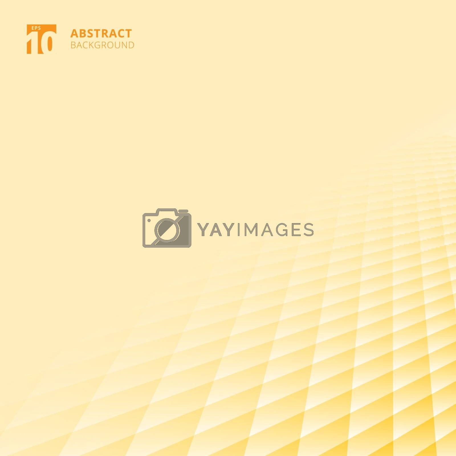 Abstract squares pattern geometric yellow and white color perspective background with copy space. Floor ground grid. Vector illustration.