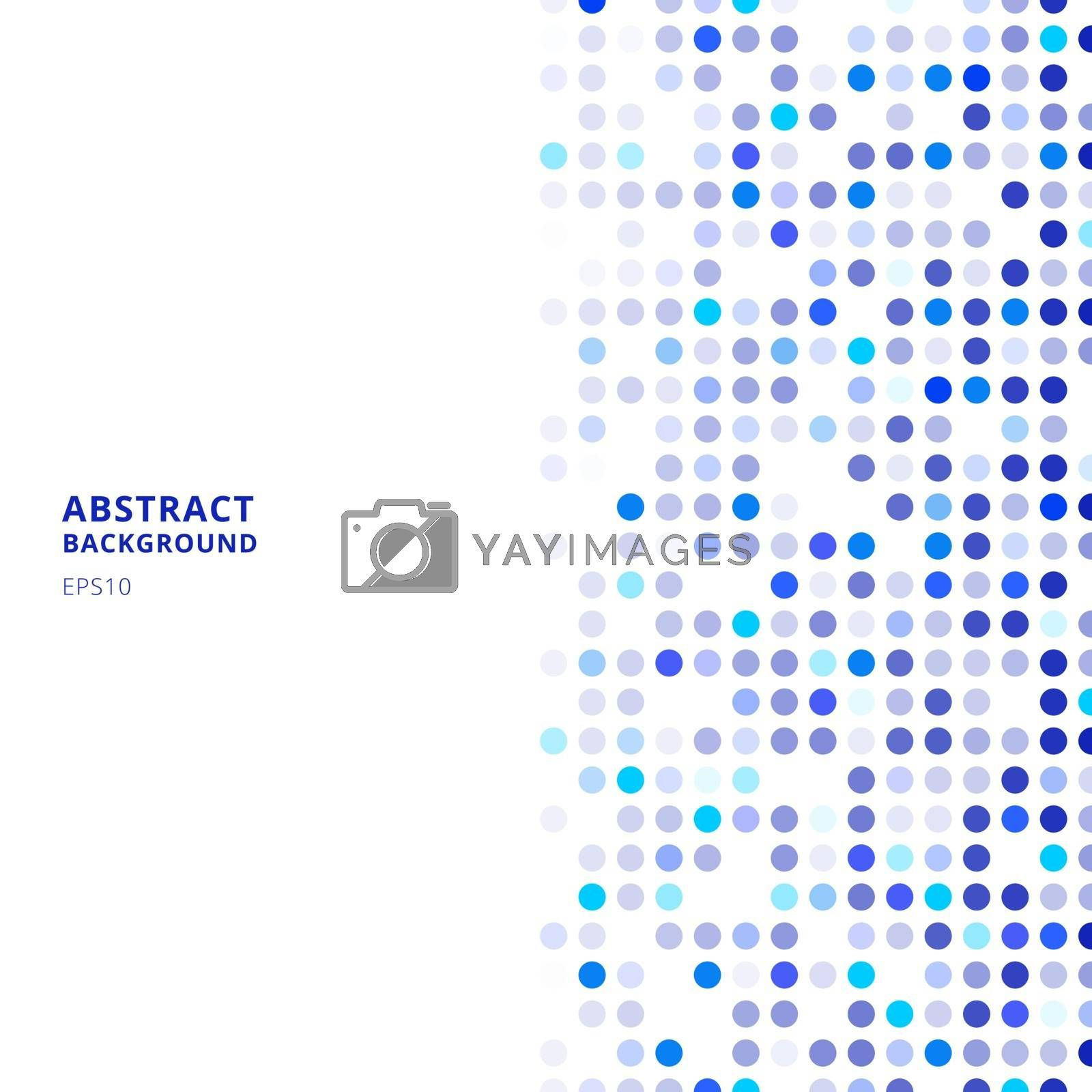Creative design templates abstract blue random dots on white background. Vector illustration