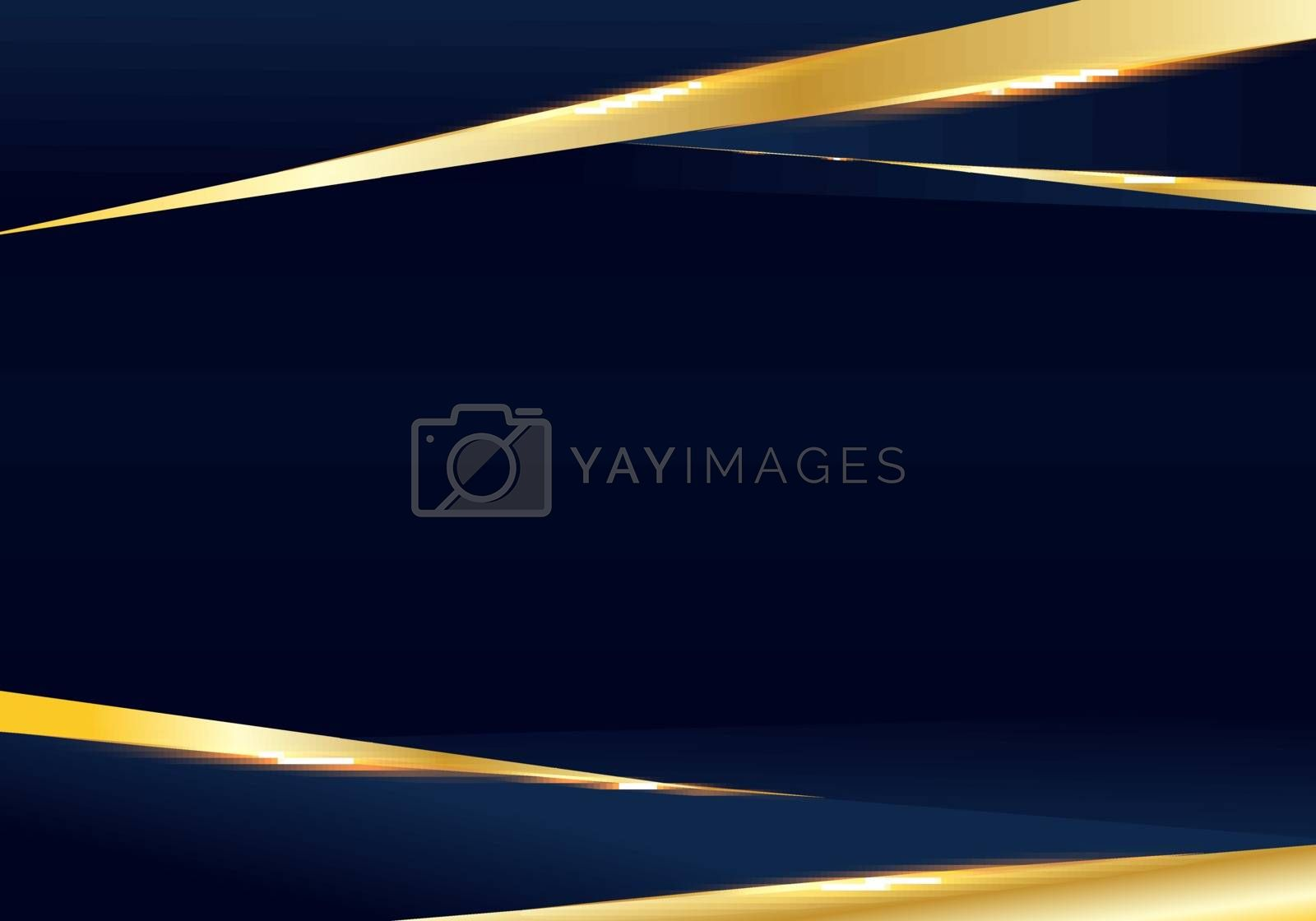 Abstract template dark blue and golden luxury premium background with luxury triangles pattern and gold lighting lines. Vector illustration