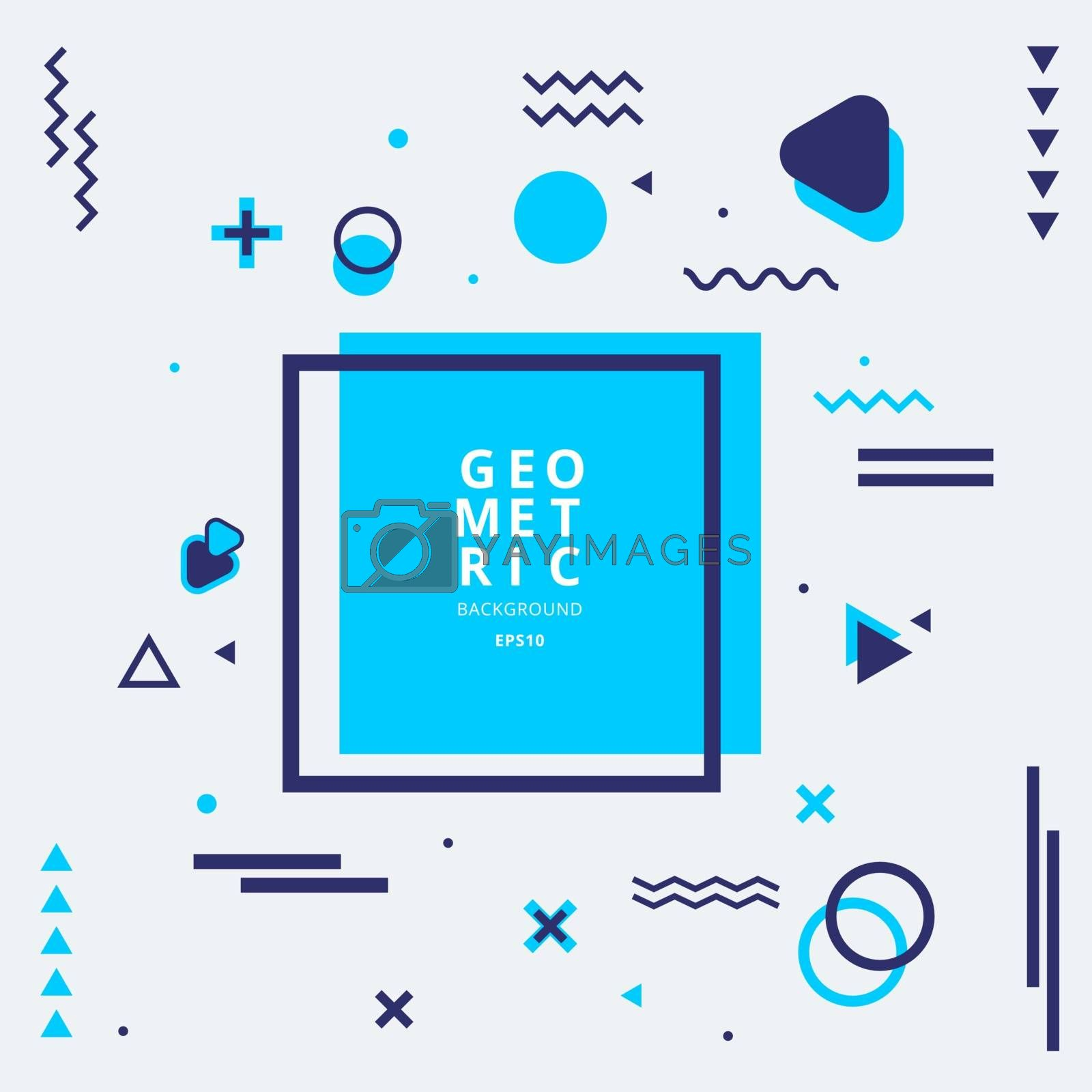 Abstract blue geometric shape composition with lines and wavy flat style on white background. Vector illustration