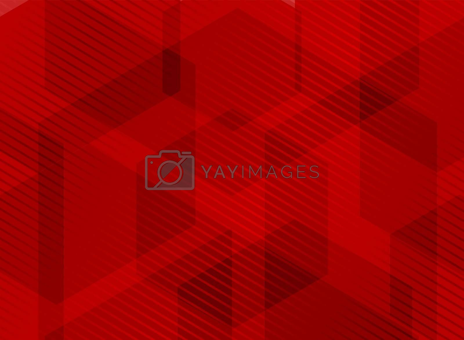 Abstract geometric hexagons overlapping red background with striped lines pattern. You can use for brochure, presentation, poster, leaflet, flyer, print, advertising, banner, website. Vector illustration