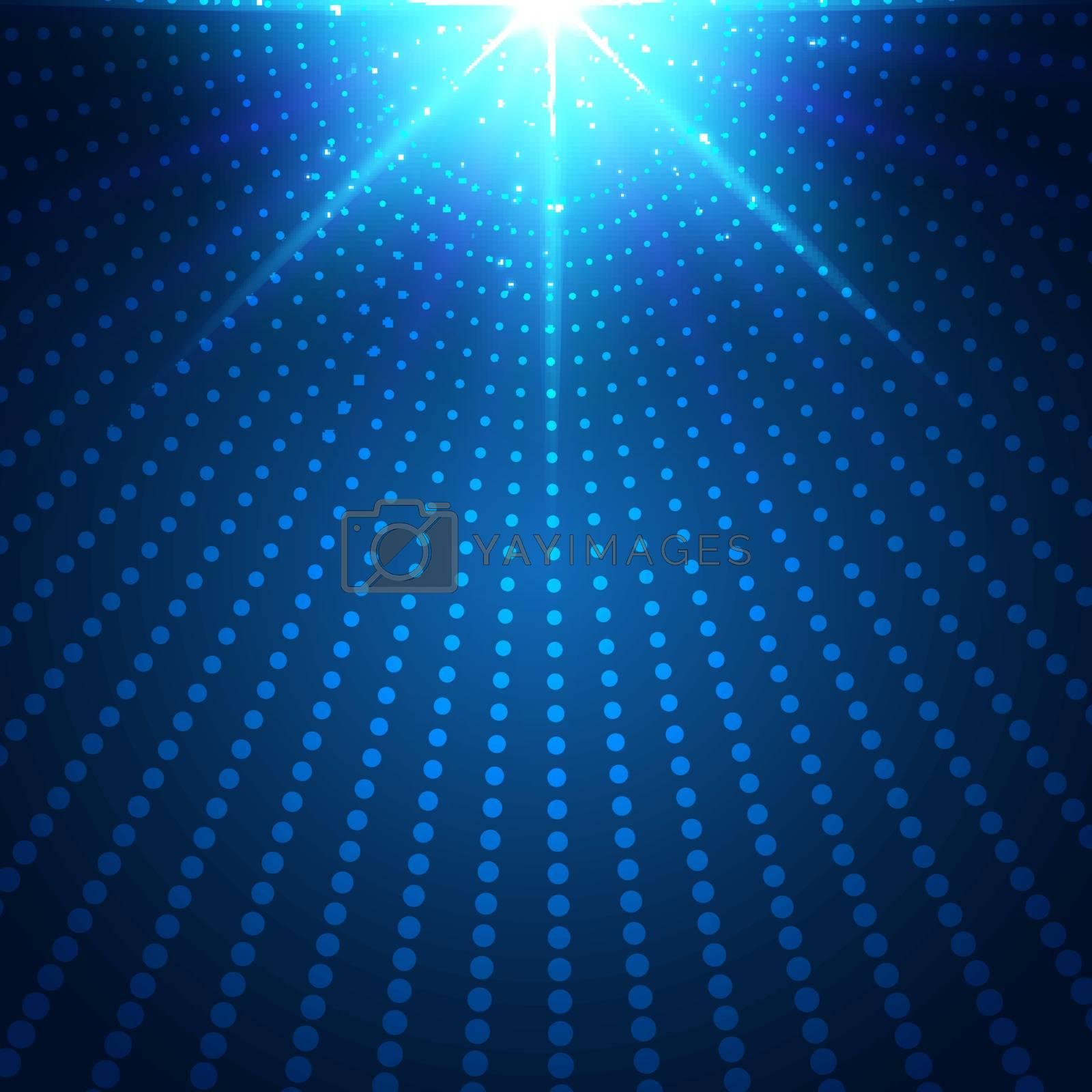Abstract technology futuristic blue neon radial light burst effect on dark background. Digital elements circles halftone. Vector illustration