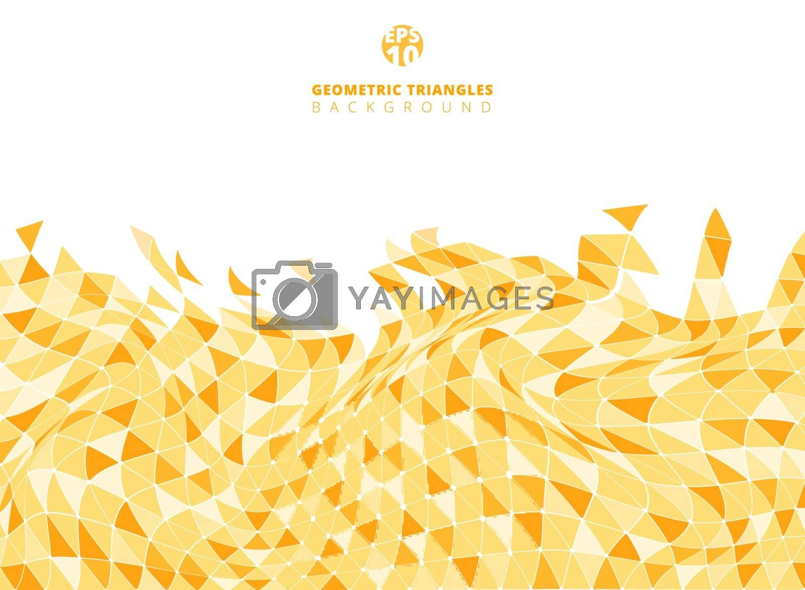Abstract yellow geometric triangle structure distorted backgroun by phochi