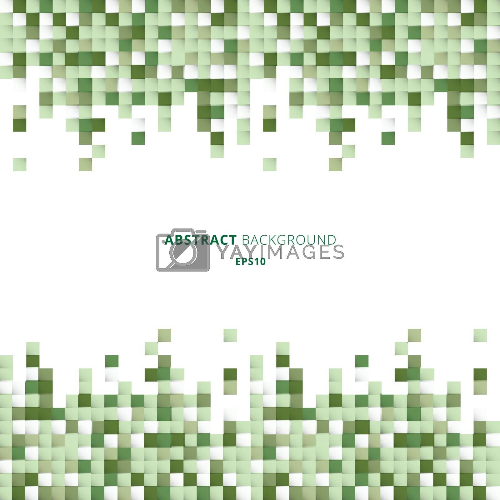 Abstract header and footers geometric white and green squares pattern pixel background with copy space. You can use for design for print, ad, poster, flyer, cover, brochure, template. Vector illustration